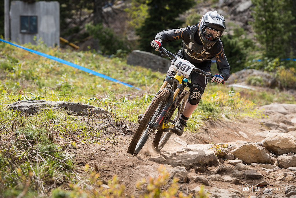 Jack Frischkorn was clearly ahead on pace for his class as he powered through the rock garden. He finished nearly 14 seconds up Cat 2 Men 15-18 .