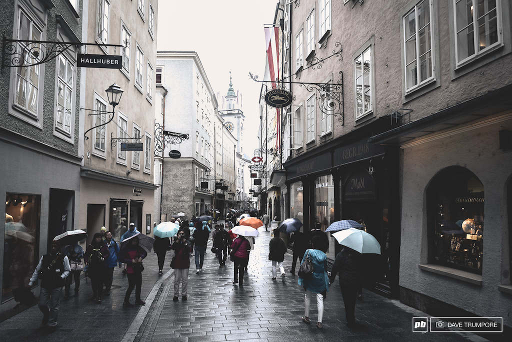 Many riders spent a rainy tourist day in Salzburg before heading into the mountains.