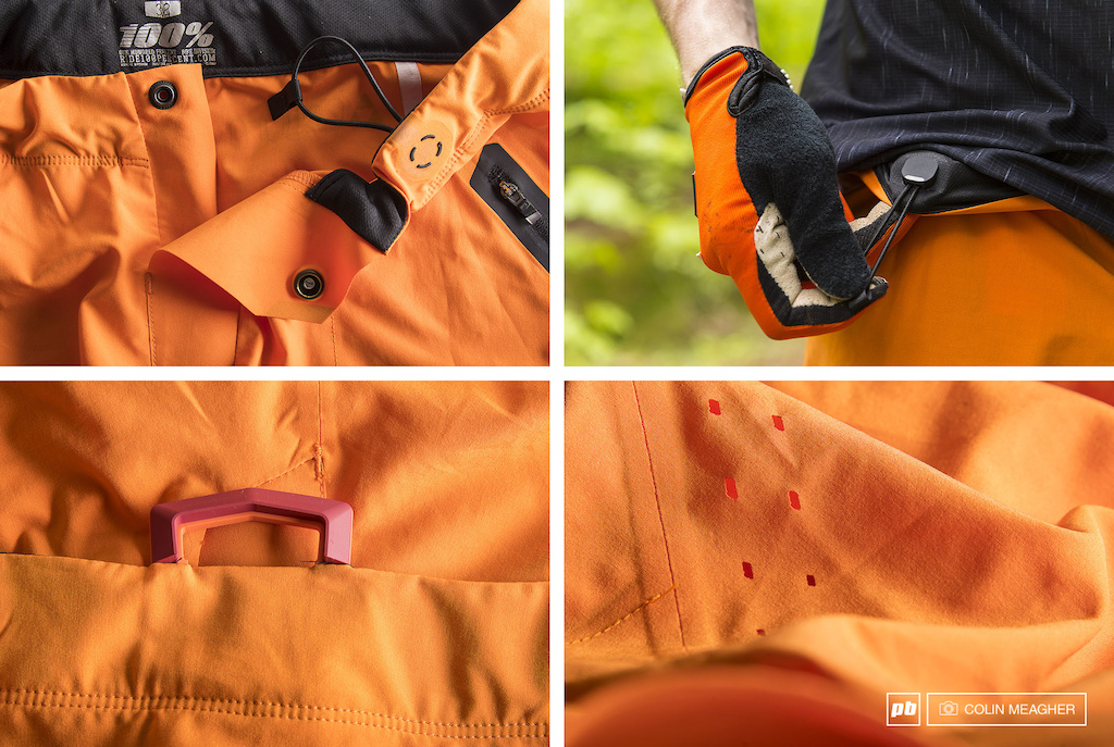 Detail images of the Ride 100 Celium All Mountain short.
