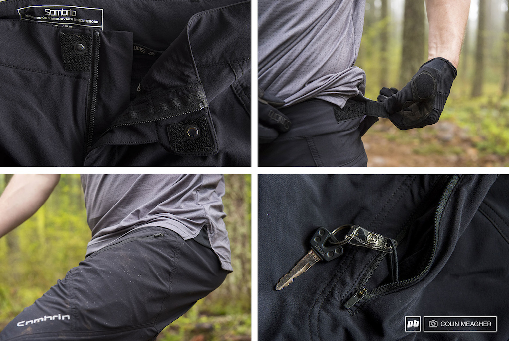 Detail images of the Sombrio Highline Short.