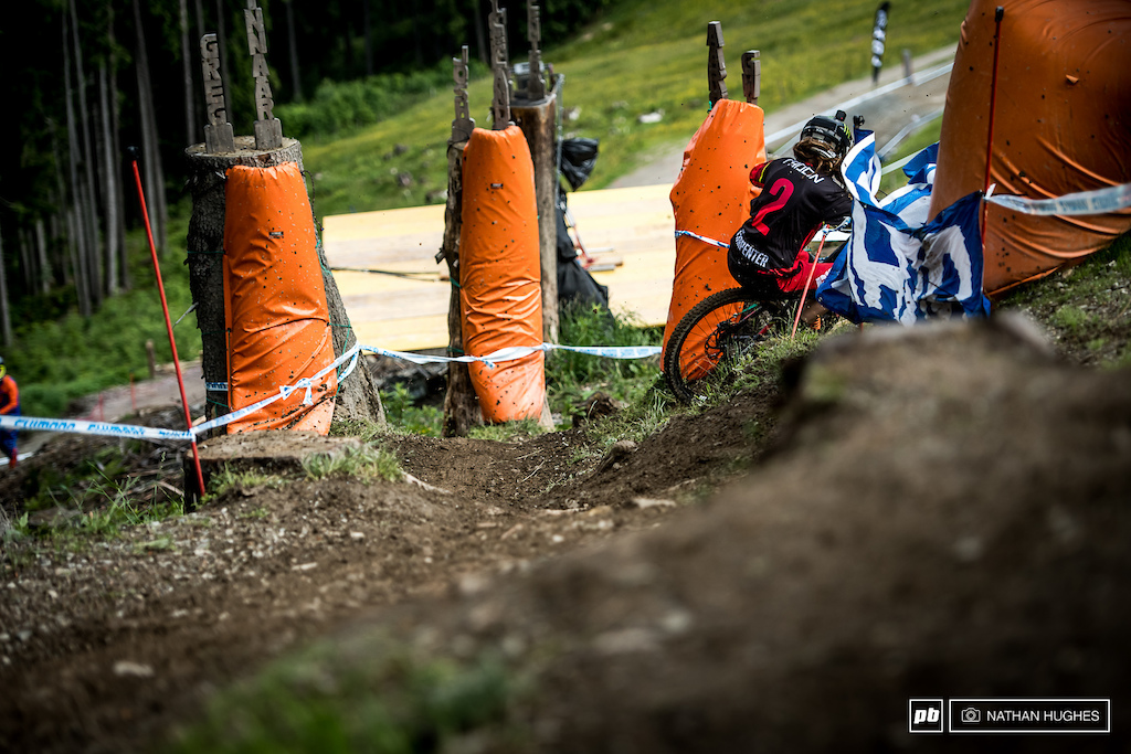 Traction control fail on the greasy roots first thing  for Manon Carpenter.