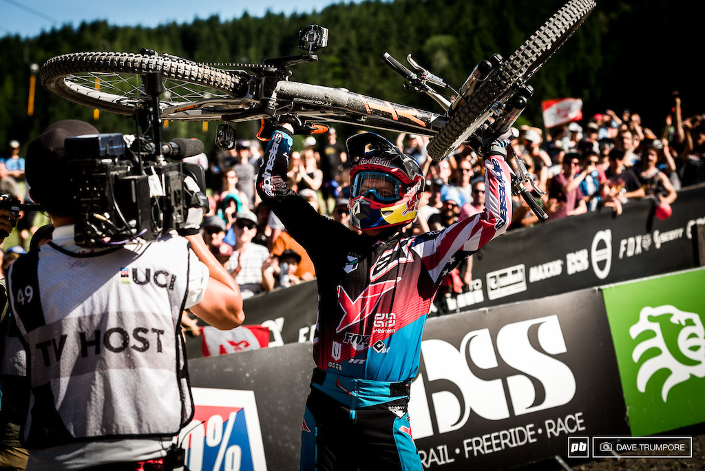 Today s winner Aaron Gwin makes it three in a row at Leogang.