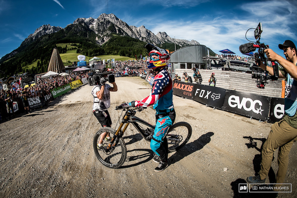 Since the blown tyre debarcle of 2014, Aaron Gwin simply can't miss here in Leogang.