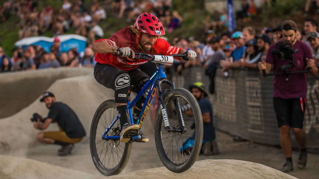 Adrien Loron, Ultimate Pump Track Challenge presented by Rockshox Crankworx Whistler 2016. Photo: Sean StDenis