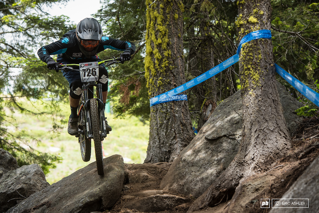 Evan Geankoplis wasn t able to hold onto the lead and finsihed .53 seconds behind Carson Eiswald and his downhill bike Pro Men .