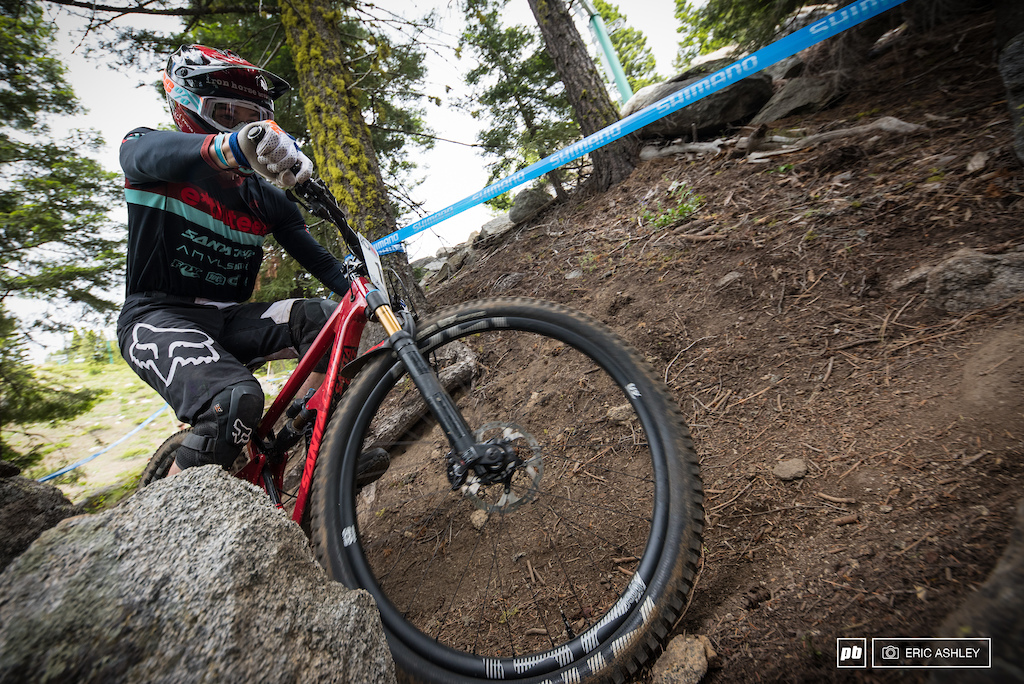 The granite work through the trees was tight and unforgiving. Nate Furbee (Pro Men).