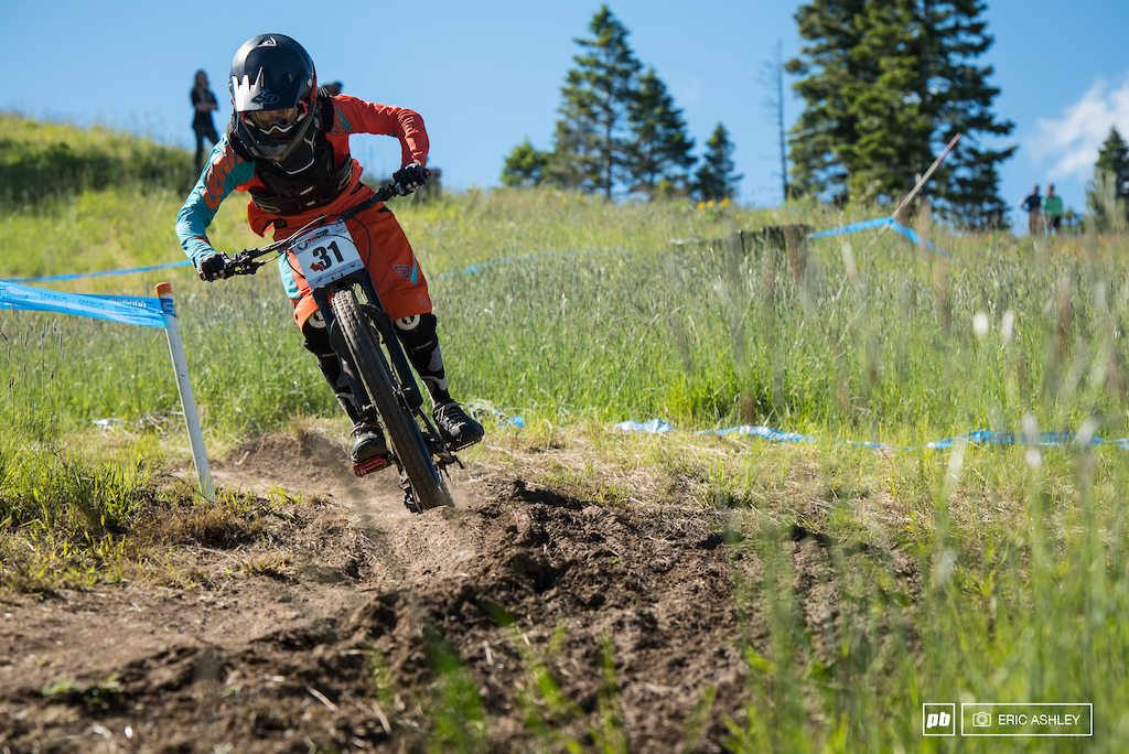 Only a few of the fast turns through the grass provided a solid base for riders. Jason Eiswald Pro Men .