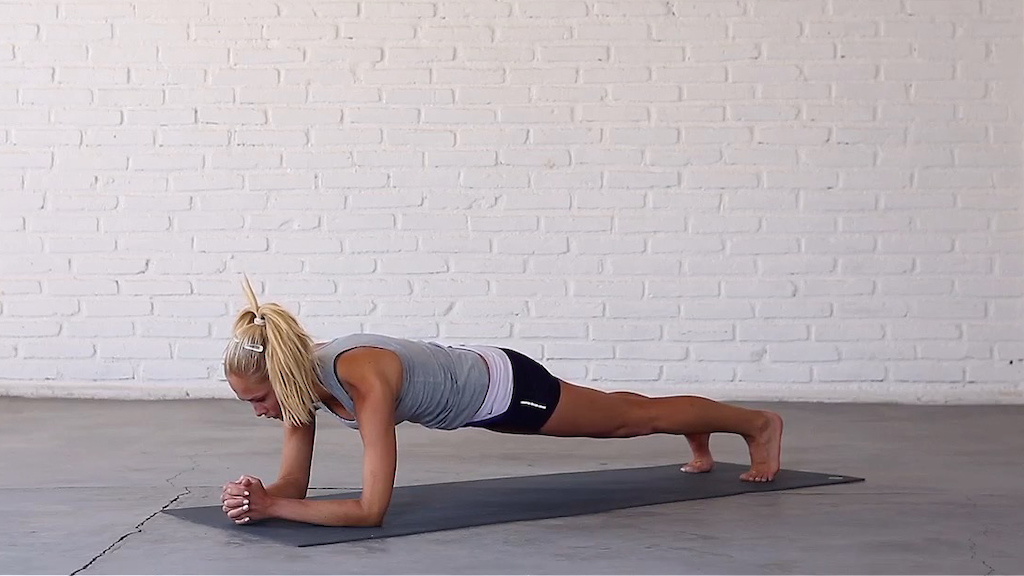 Forearm plank strengthens the shoulders upper back and core. Photo credit charleysmith