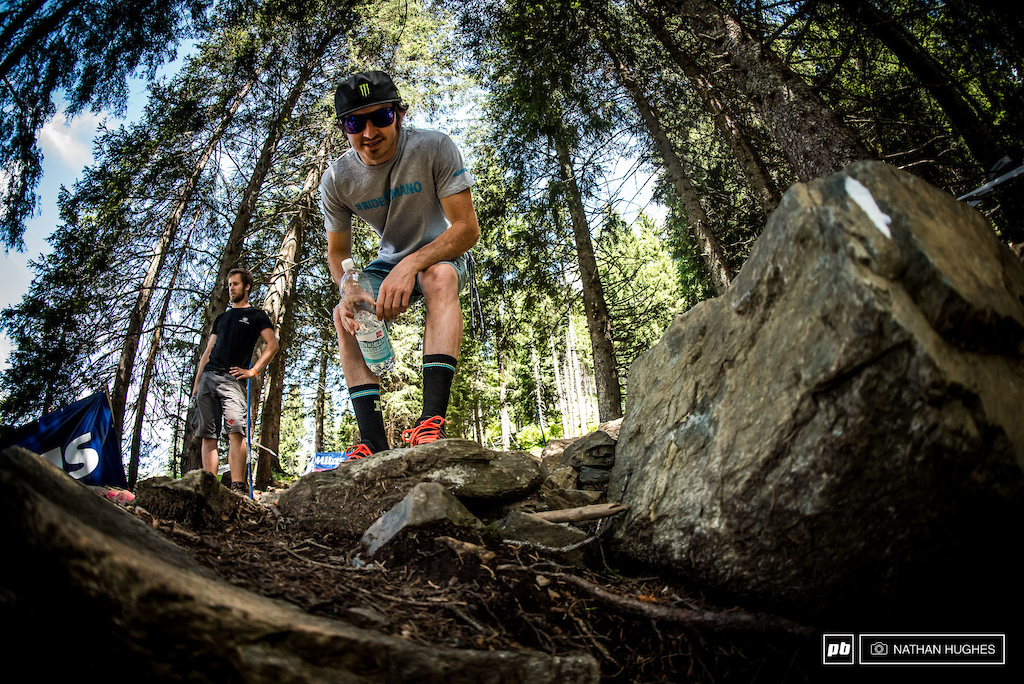 What 'av' we 'ere then...? Danny spots Pinkbike lenses in the rocks.