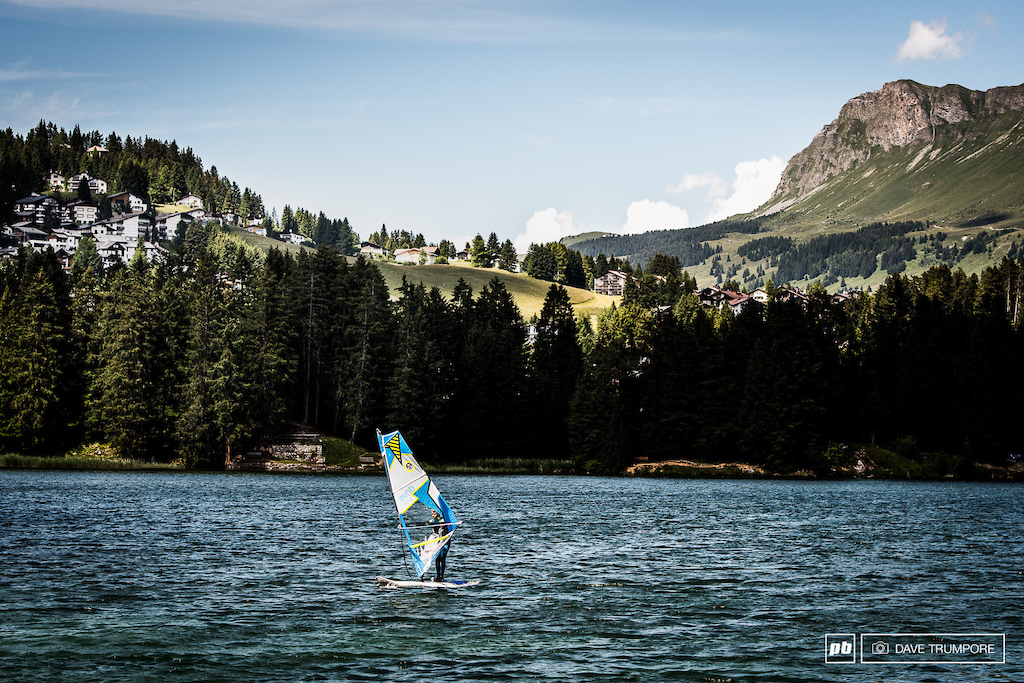 It s not everyday you see windsurfing at the bottom of a World Cup DH track.