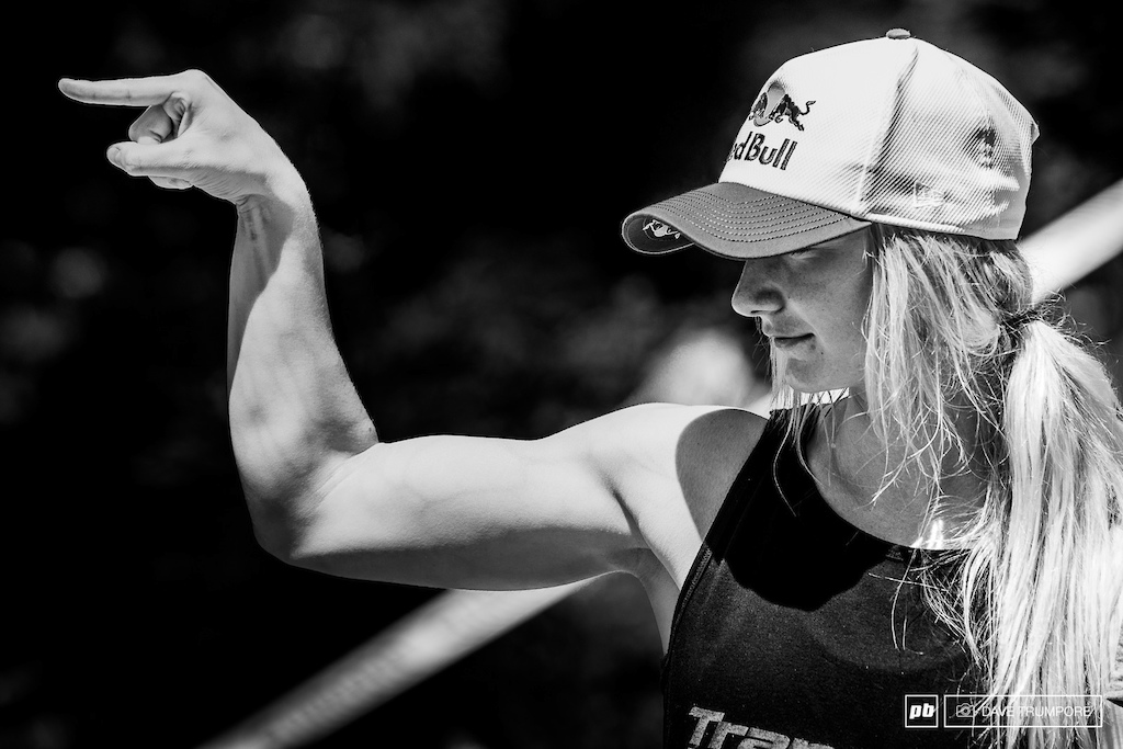 Tahnee Seagrave and the gun show point out the quickest route to the beach,