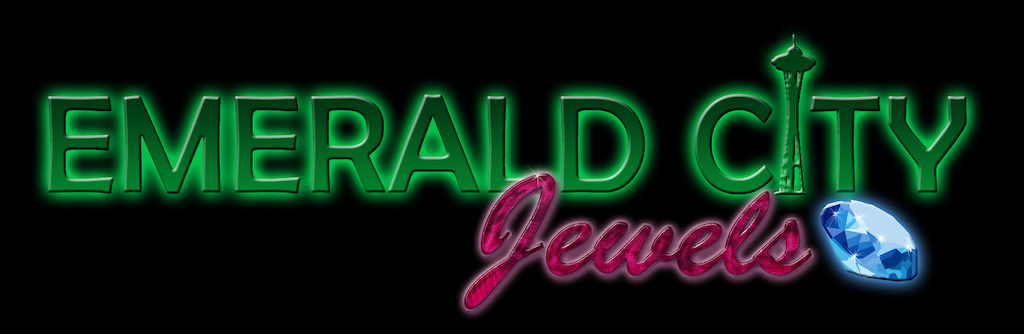Emerald City Jewels cheer team logo re-design with black background and glowing edges