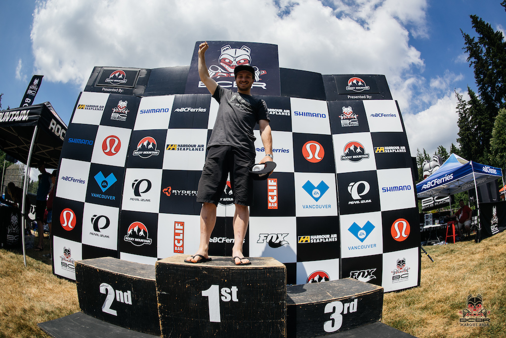 Jesse Melamed, the winner of the RedBull Downtime, enduro stage today.