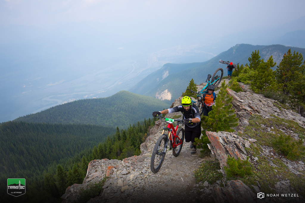 Riders approaching Stage 1 on Day 3 of the Trans BC Enduro in Golden B.C.