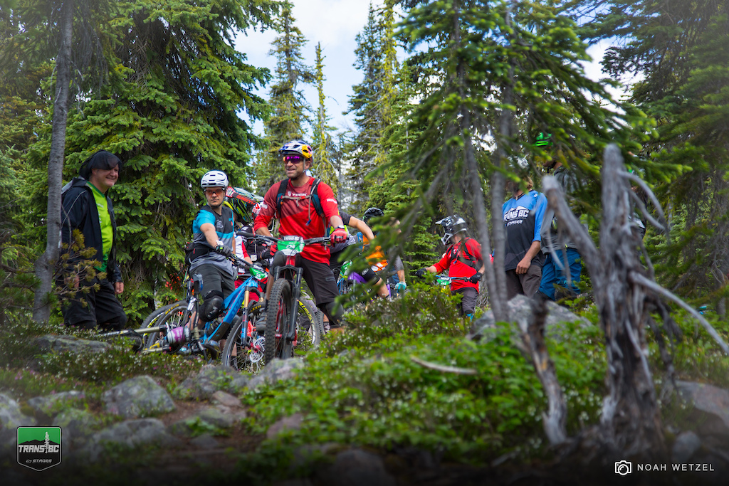 Friendly vibes at the Stage 1 start on Day 4 of the Trans BC Enduro in Golden B.C.
