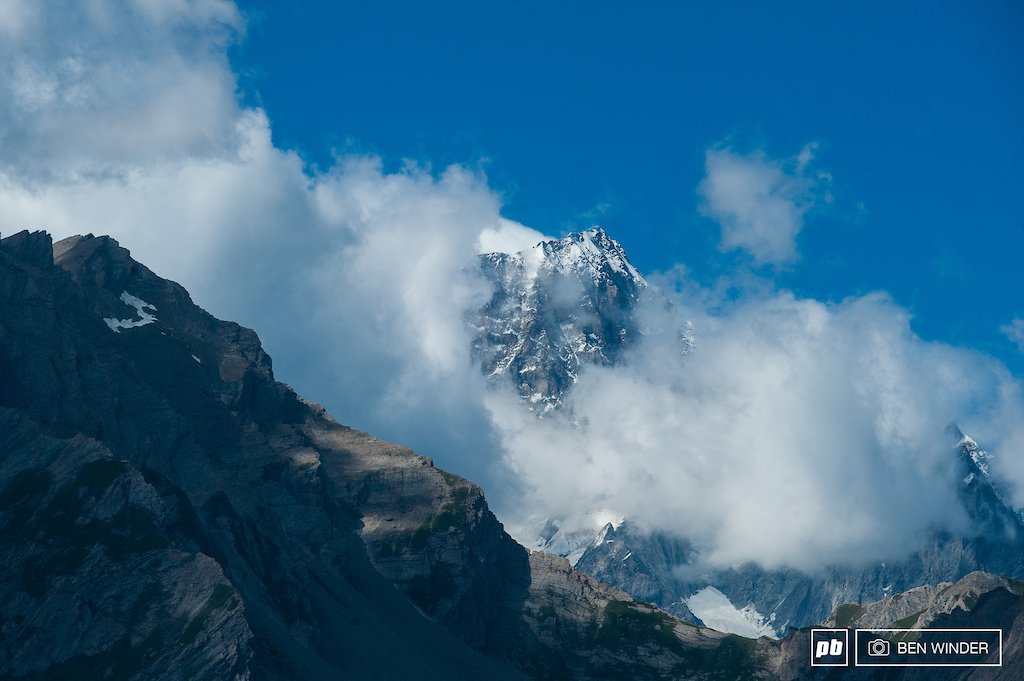 Mont Blanc looking tall and proud nestled in clouds.