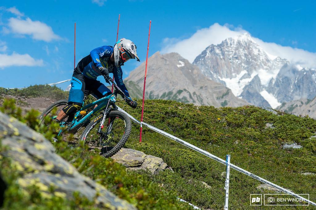 Davide Sottocornola, powering past Monte Bianco.