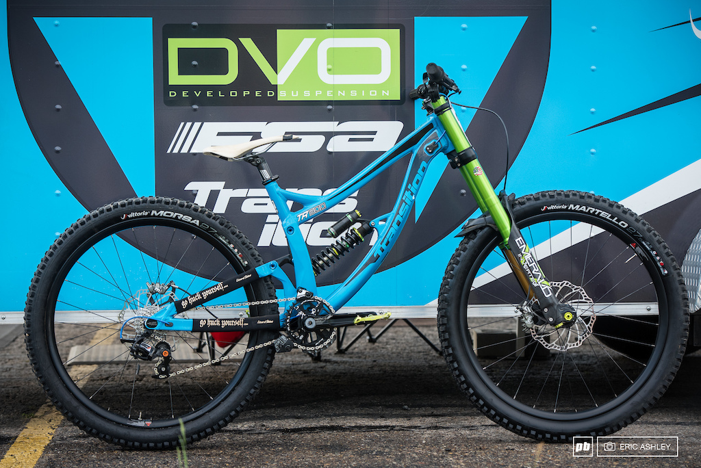 Between days is a great time to do a bike check. DFT United's Louie Blair has some nice touches on his small TR-500 this season. Custom DVO Emerald 180mm Fork, Glory Wheels DH Carbon protoype wheels, Magura MT 7 brakes, Vittoria tires, FSA Gradient prototype Billet 83mm DH crankset, Box Custom Billet short cage protype derailleur, and HT pedals.