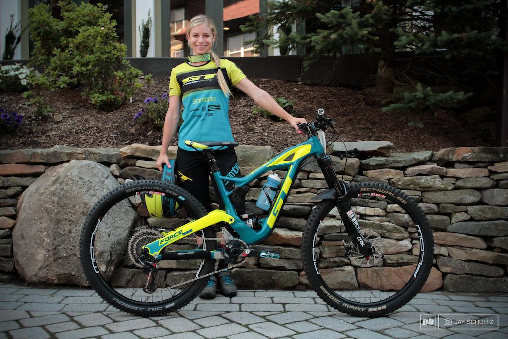 Rachel Strait Costa Mesa CA. Team GT Factory Racing. Bike GT Force. Sponsors Ergon Bell Helmets Sombrio Schwalbe GoPro Alpine Stars SRAM Rockshox Stan No Tubes.