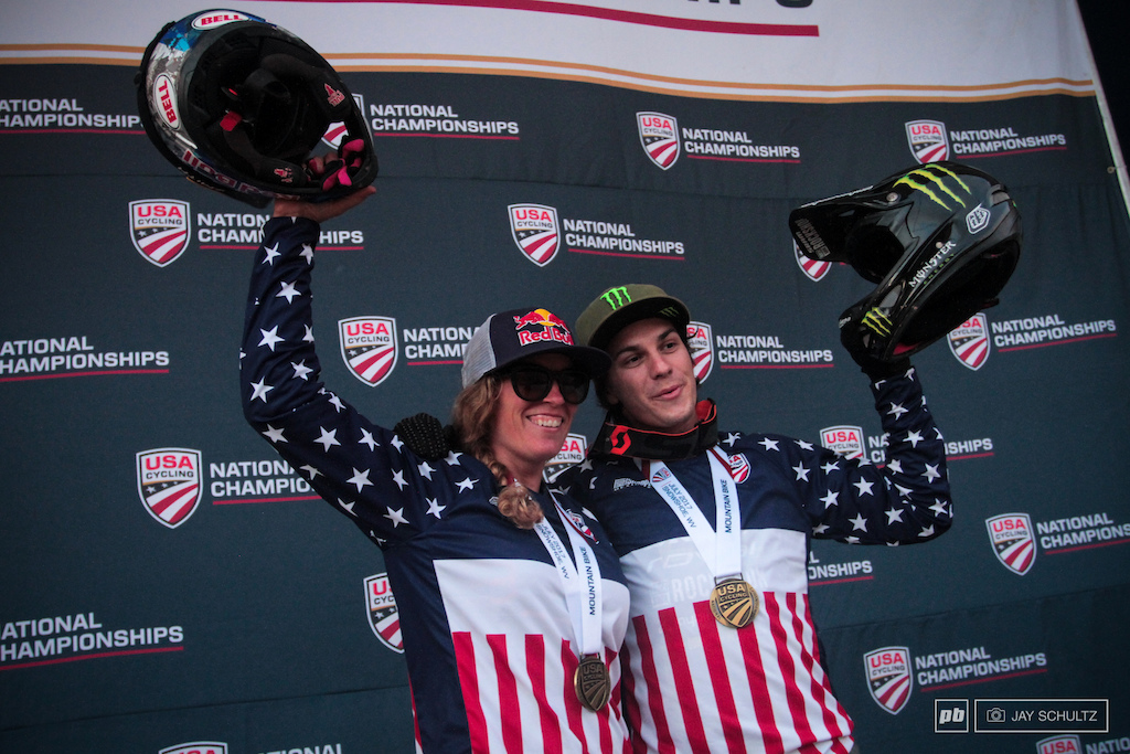 The 2017 DS National Champions Jill Kintner Pro Women and Mitch Ropelato Pro Men.