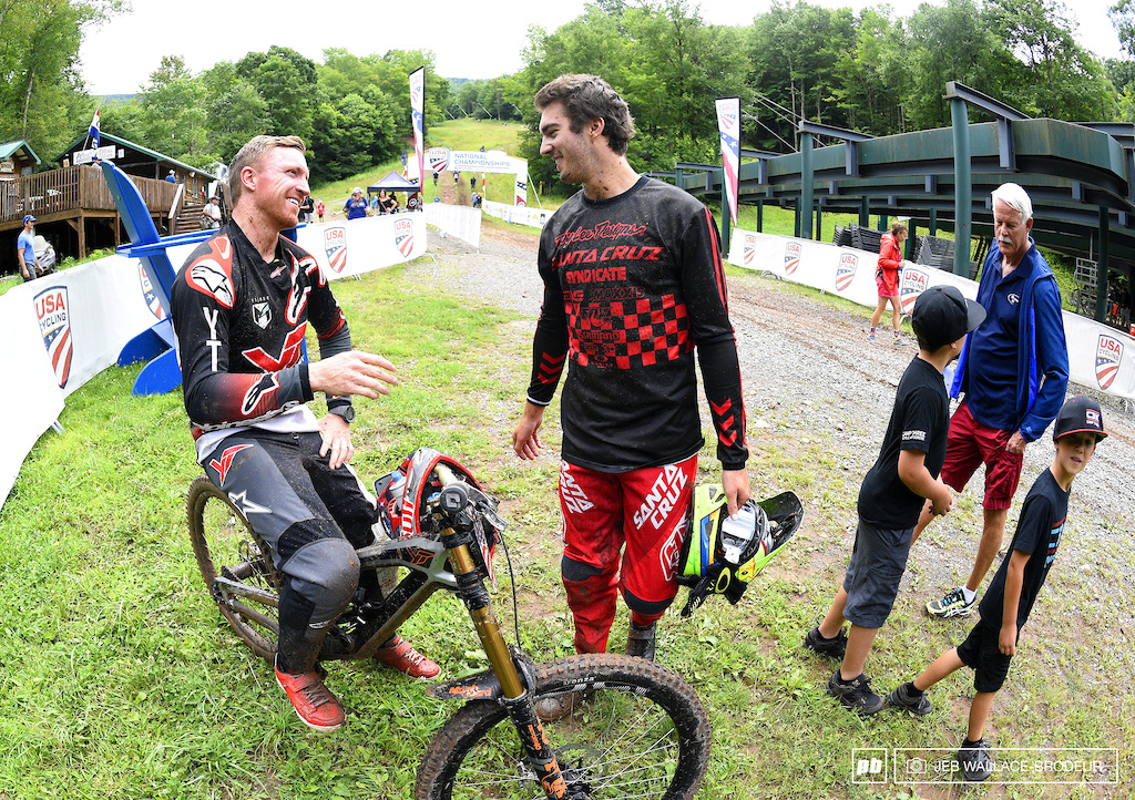Aaron Gwin and Luca Shaw relived their race runs after going one-two for the national title.
