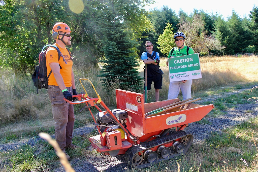 Sat Crew #4 moving rock and gravel to prepare for fall work on areas that succumb to heavy moisture and a fair amount of traffic during the winter.