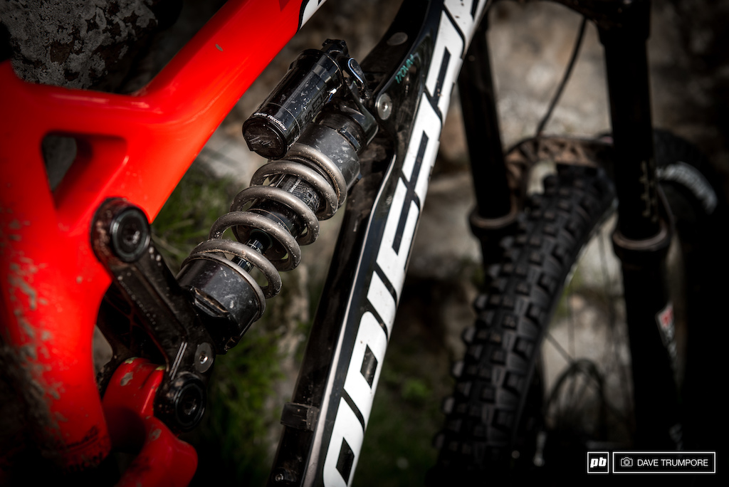 Adrien Dailly s Rockshox Vivid coil which has been very very custom tuned by Nico Vouilloz.