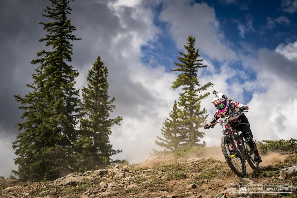Isabeau Courdurier speeding through the dust.