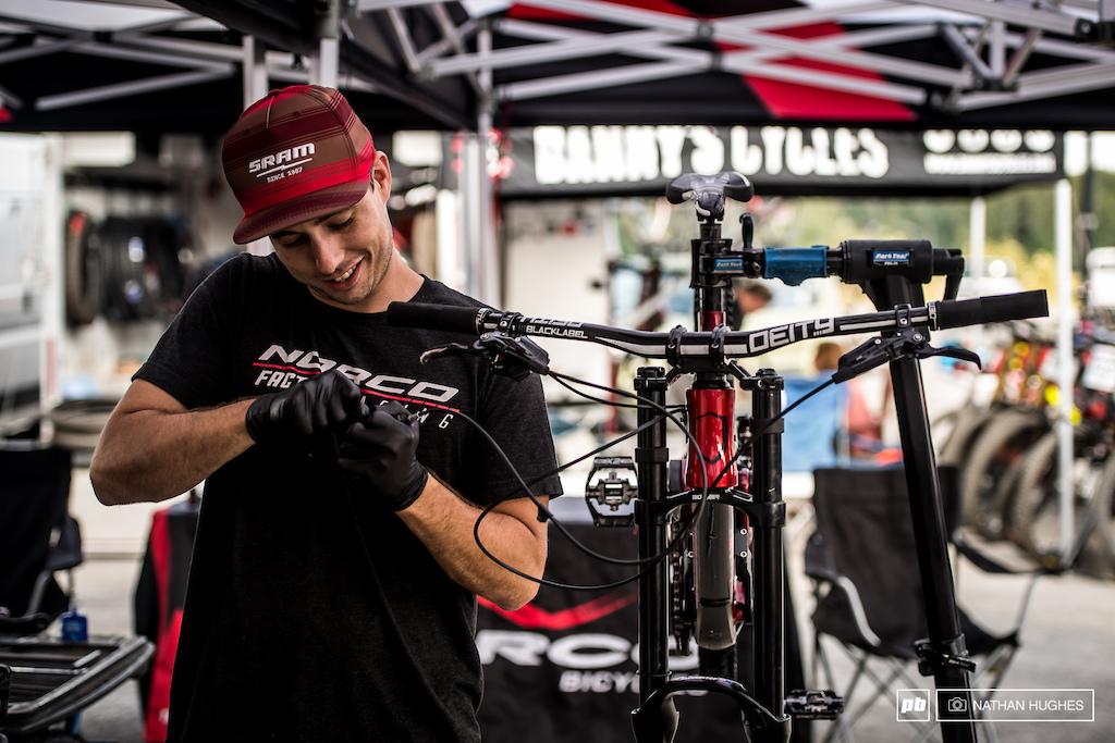 Blenki's mechanic, Darren, dialling in his prototype ride.