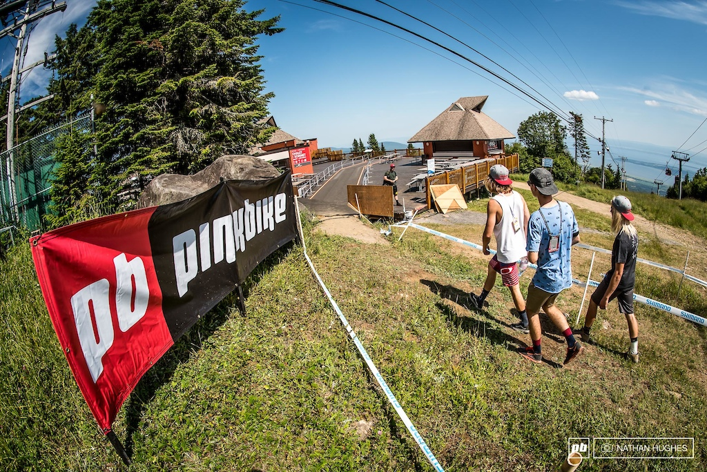 One of the first and only alterations to the course is an unlikely diversion across the decking of the mountain restaurant. This was actually where the first DH races, back in 1991 began.