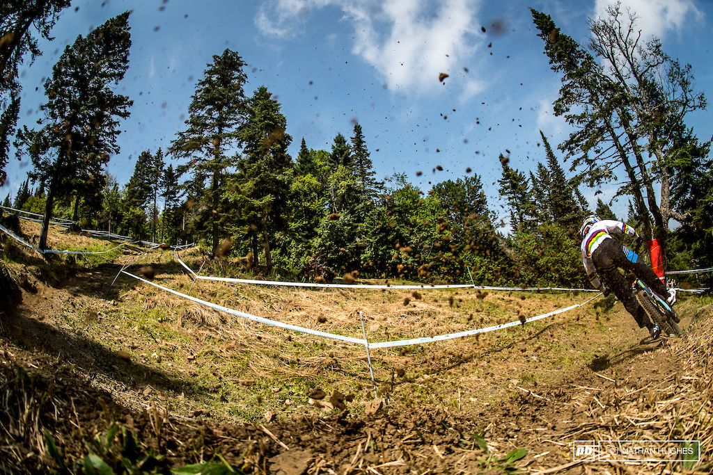 The dirt storm following Danny Hart down the mountain.