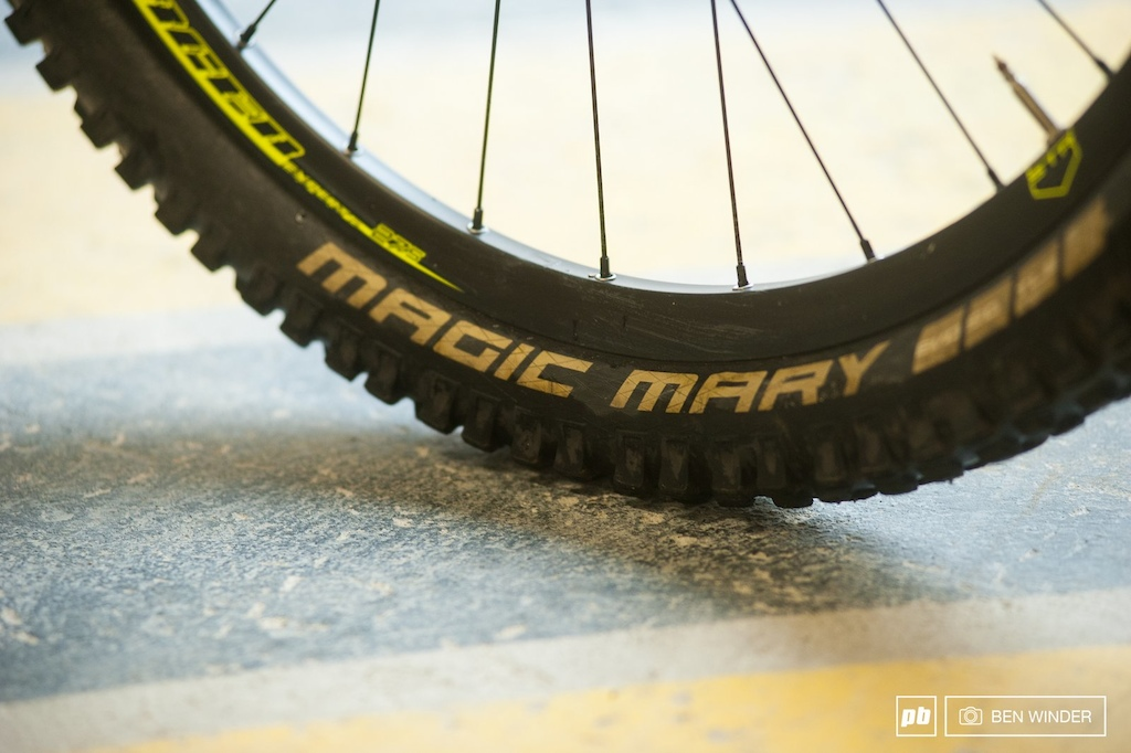 Schwalbe Magic Mary s replaced the paper thin Maxxis Forekaster tires that were specced on the E-Trailster.