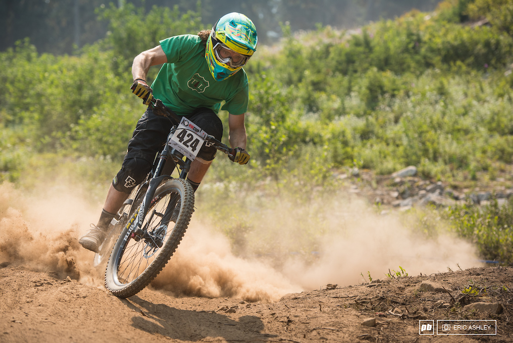 Brenden Boyer getting just a little too loose on a flat and dusty corner on Berserker Cat 1 Men 19-29 .
