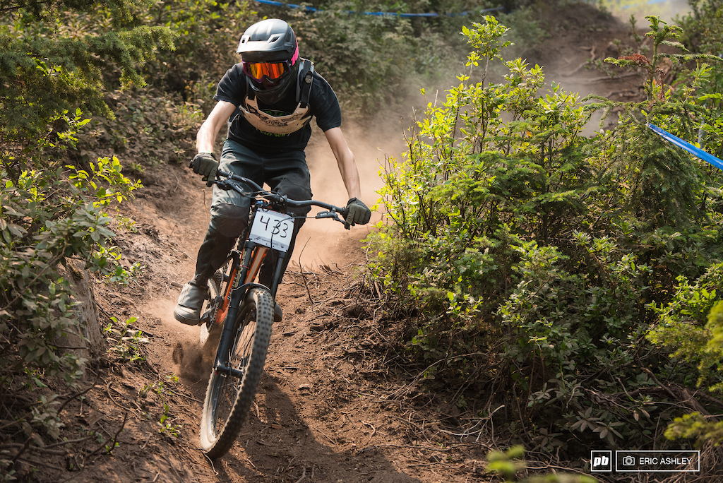 Layton Meyers traded in his enduro bike for the weekend and laid down some fast times on his downhill bike to seed second Cat 1 Men 0-18 .