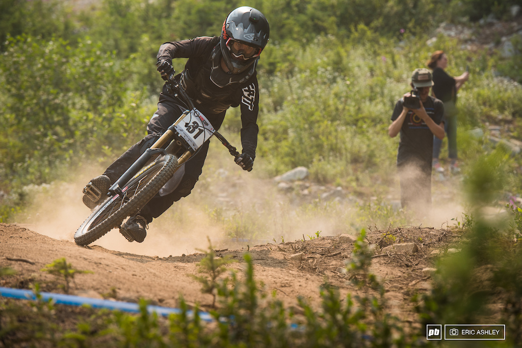 Fresh from his first Pro Mens Podium at Silver Mountain Jason Eiswald was searching for a repeat Pro Men .