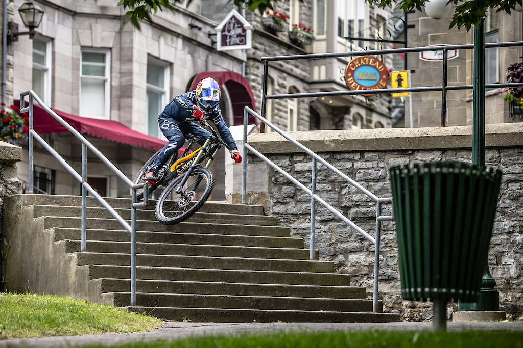 Finn Isles races his downhill mountain bike through the city during the making of Red Bull Purest Line in Quebec City Canada on July 21 2017.