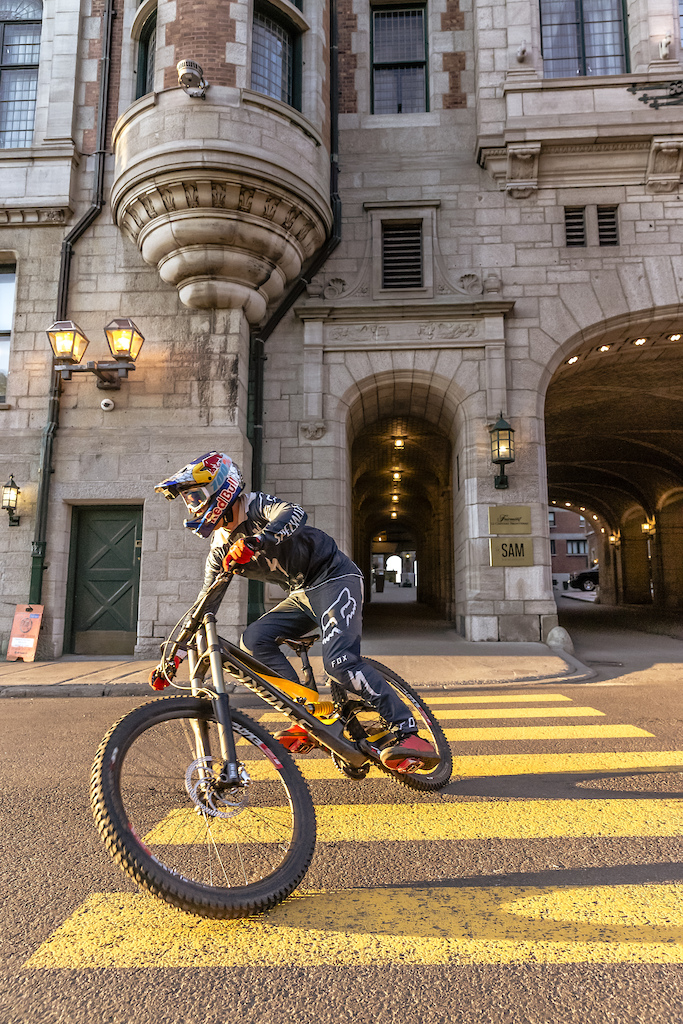 Finn Isles races his downhill mountain bike through the city during the making of Red Bull Purest Line in Quebec City Canada on July 22 2017.