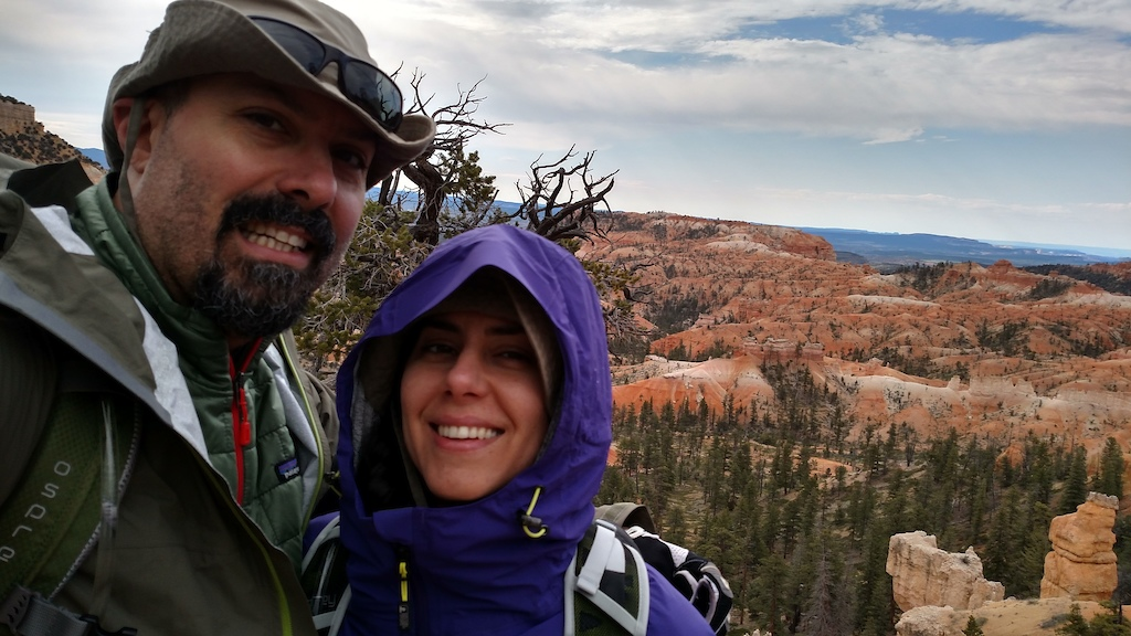 Bryce Canyon Hoodoos started hike in cold and rain, we went through every season in this 10 hour hike from snow, rain, thunder, lightning to super sunny and hot so strange but awesome!