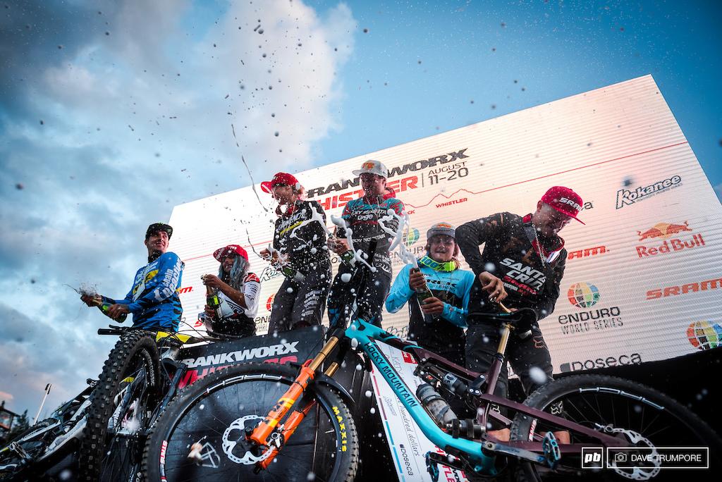 The fastest men and women in Whistler popping bottles on the podium.