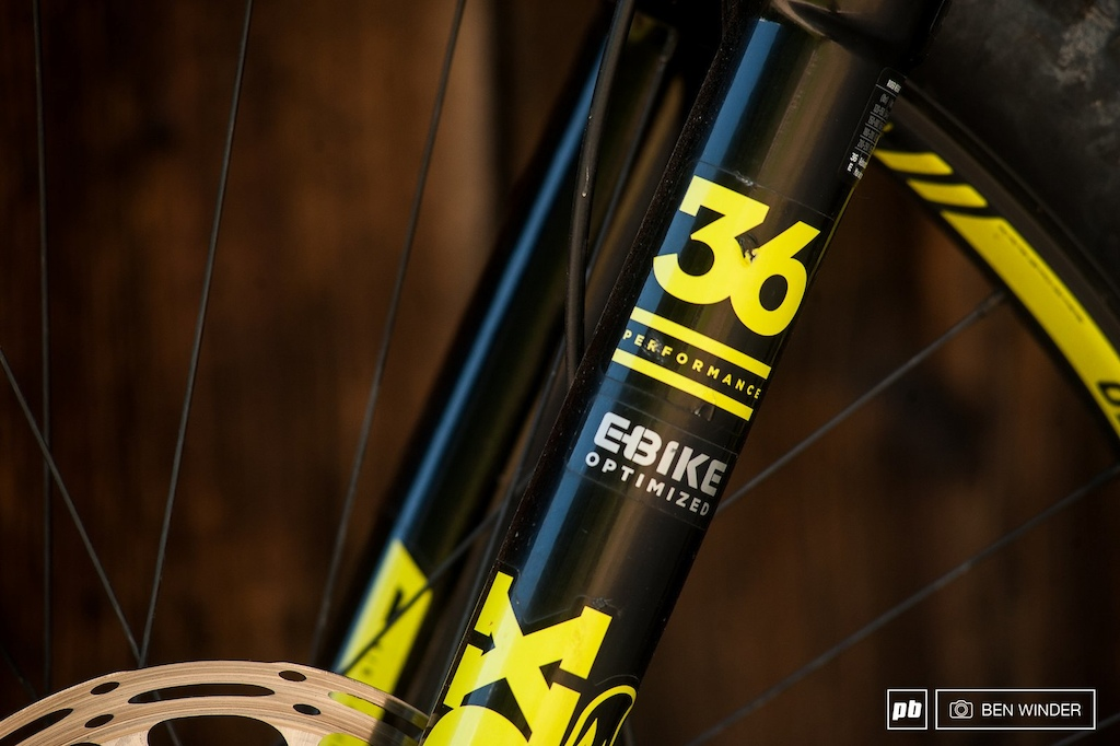 The E-Bike optimized Fox 36 features a thicker gauge steerer tube and stanchions along with a solid instead of hollow crown. This is to handle the extra weight of an eMTB especially under braking.