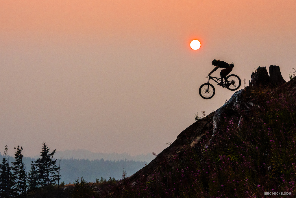 Ty Deschaine airing onto a slab on a smoky evening in Bellingham.