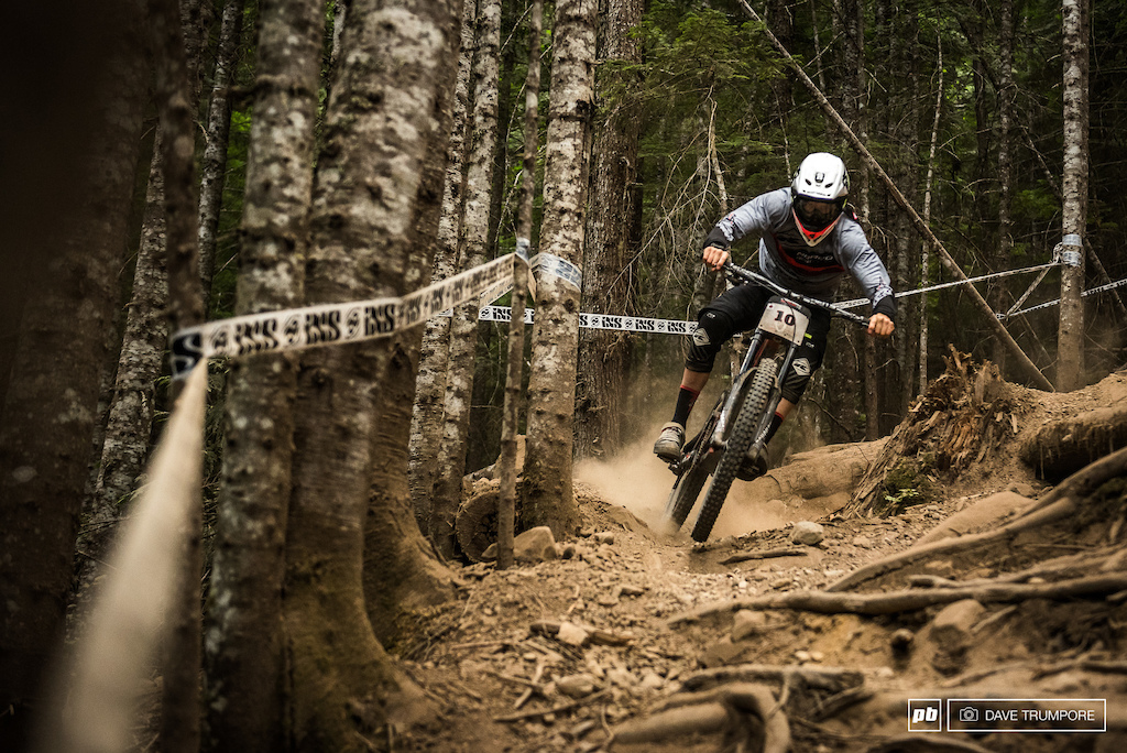 Once again a small mistake would cost Sam Blenkinsop dearly and he would finish 2nd for the third Crankworx gravity race in a row.