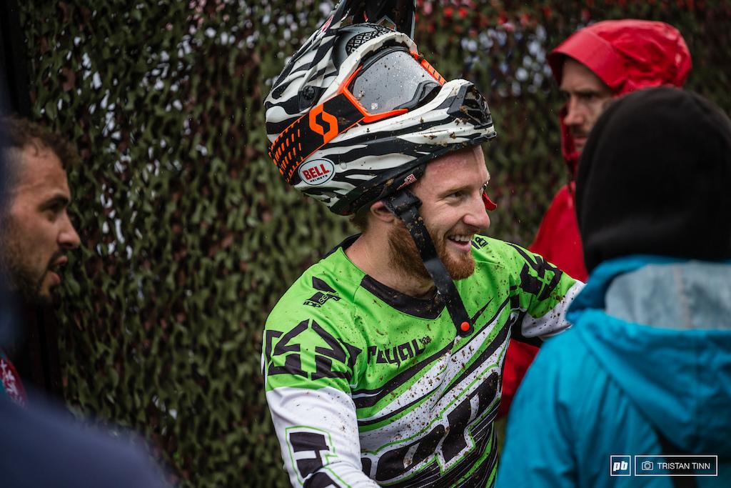 The Keswick Kestrel aka Adam Brayton is stoked as he soars onto the top step