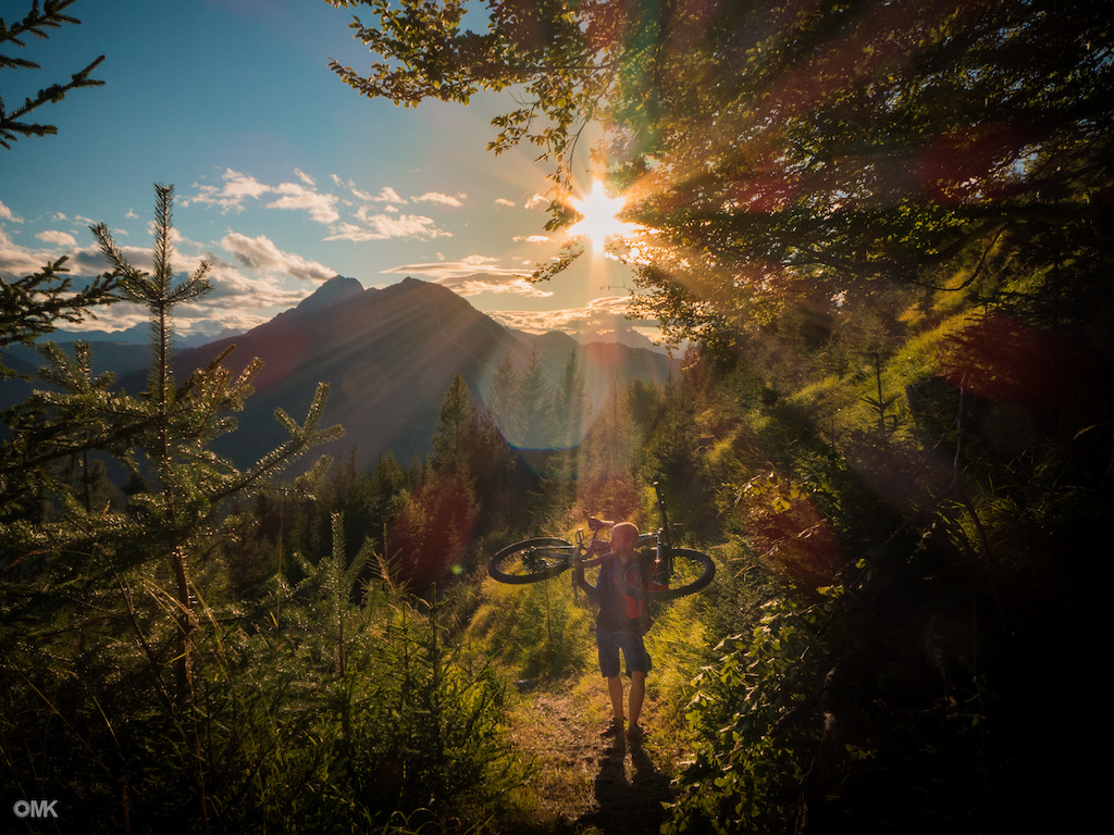Hiking the bike to one of the peaks of the southern Austrian Alps of Carinthia, sunset included. Shot by Michele Lucchi.