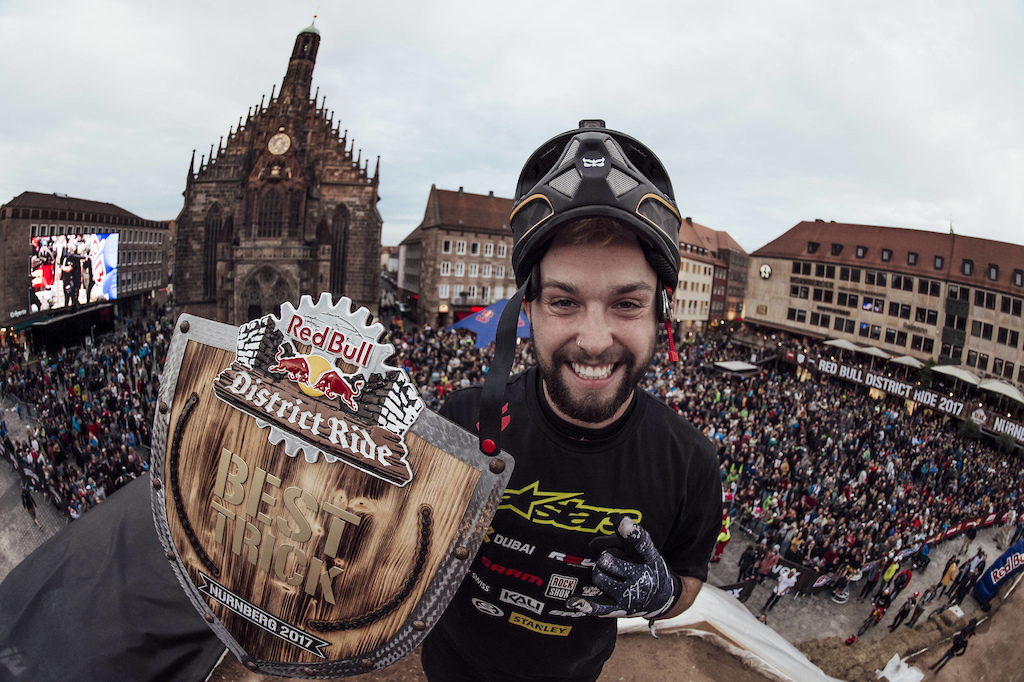 Winner Nicholi Rogatkin of the United States posing for a photograph during the best trick contest of the Red Bull District Ride 2017 in Nuremberg Germany on September 1st 2017 Marc M ller Red Bull Content Pool P-20170901-11731 Usage for editorial use only Please go to www.redbullcontentpool.com for further information.
