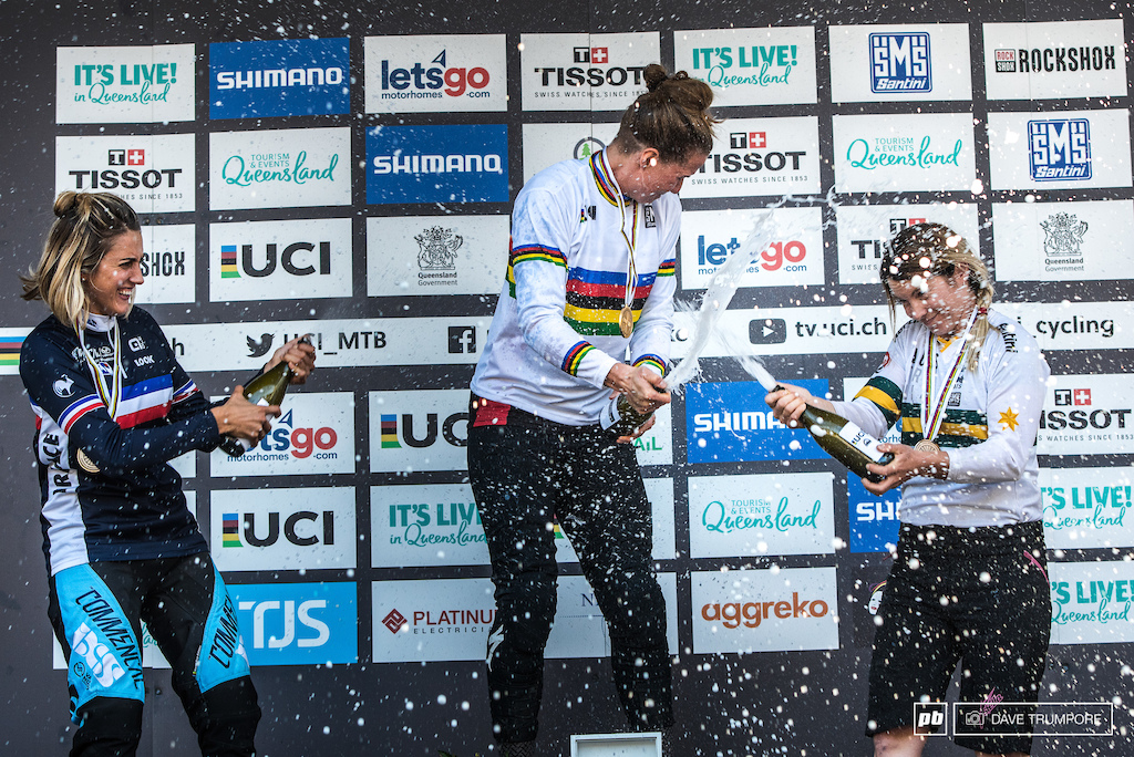 After what could easily be described as the craziest DH race in recent memory Miranda Miller Myriam Nicole and Tracey Hannah celebrate on the podium.