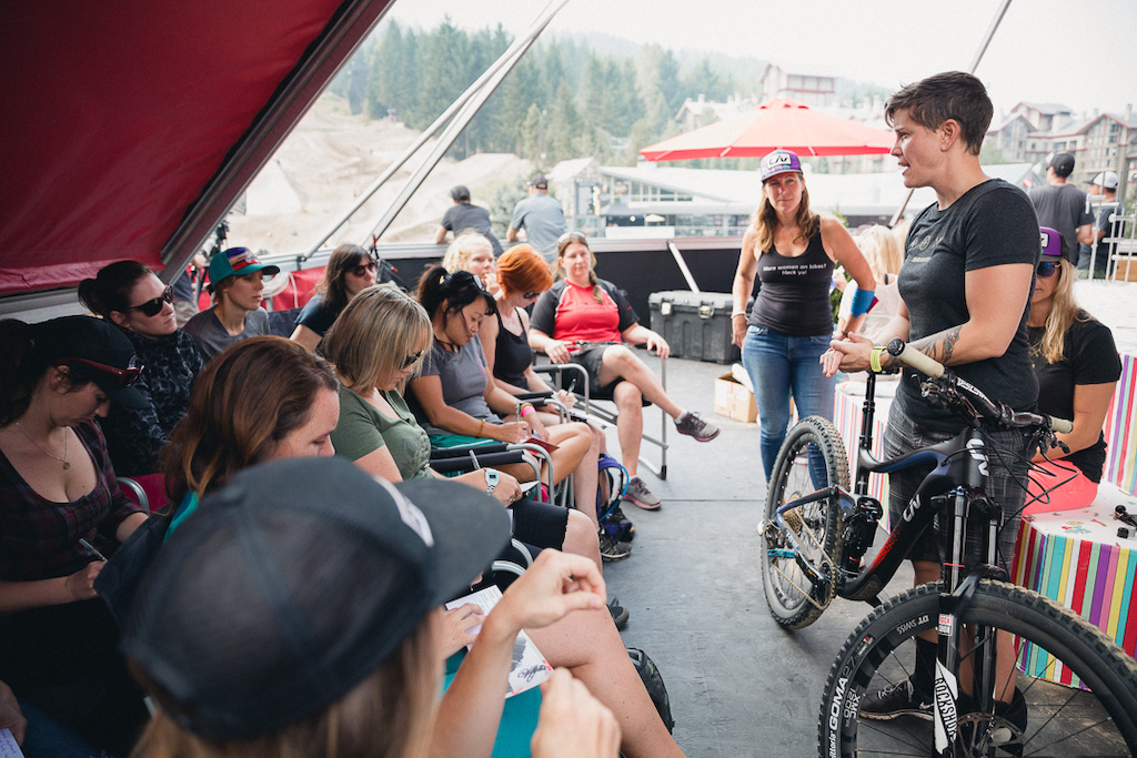 Photo Credit amp Permission from SRAM - Sara Jarrell and Leigh Donovan lead a bike clinic while at Whistler. Jarrell will be joining Roam Bike Fest to lead multi-day clinics on bike tuning suspension brake setup and more.