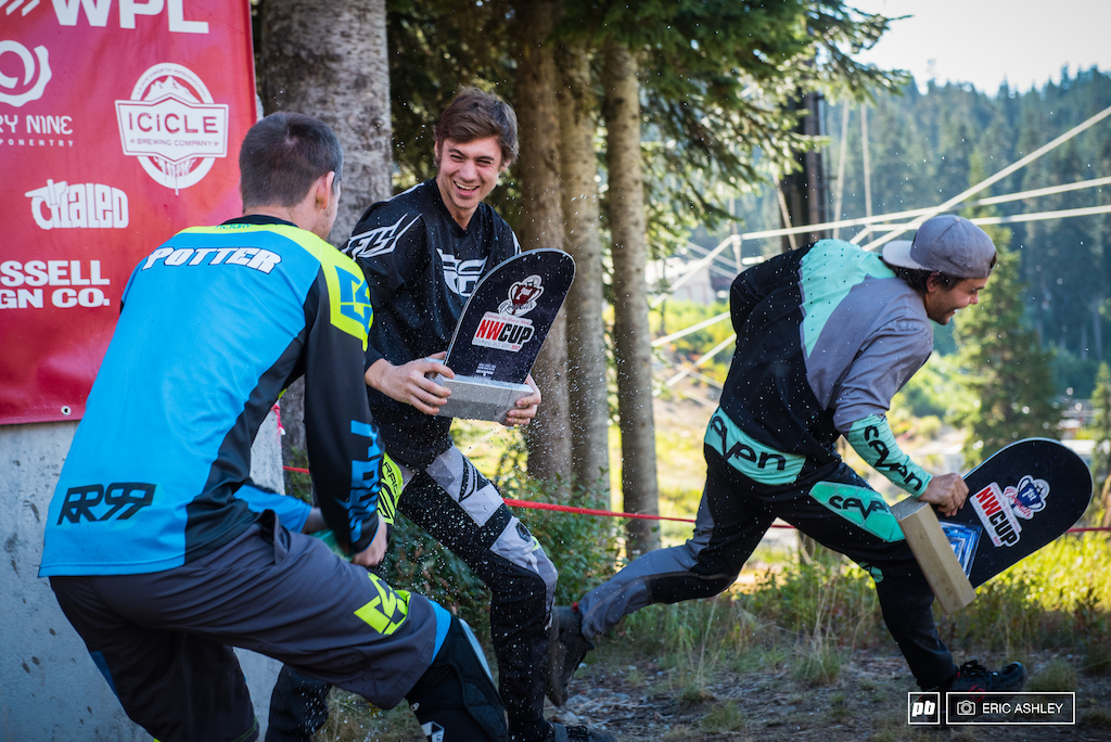 Turns out the Pro Men class is quick on their bikes and their feet. Kasper Dean and Carson Eiswald dodge some enthusasthic congratulations from Weston Potter.