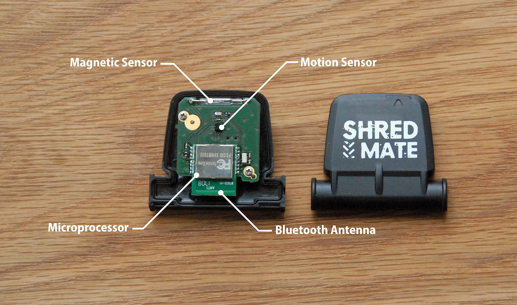 The ShredMate sensor houses a motion sensor to give you more information about your riding.