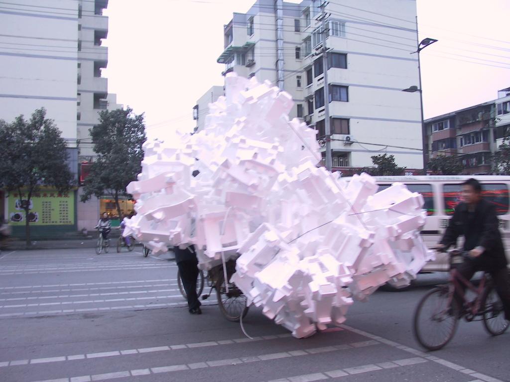 Recycling Styrofoam in Sichuan, China.